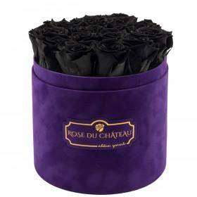 Czarne Wieczne Róże w Fioletowym Flokowanym Boxie