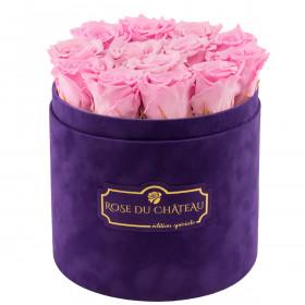 Bladoróżowe Wieczne Róże w Fioletowym Flokowanym Boxie