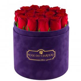 Edition Spéciale Fioletowy Flokowany Box z Czerwonymi Różami Żywymi