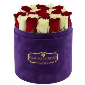 Edition Spéciale Fioletowy Flokowany Box z Białymi & Czerwonymi Różami Żywymi