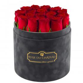 Édition Spéciale Antracytowy Flokowany Box z Czerwonymi Różami Żywymi