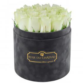 Edition Spéciale Antracytowy Flokowany Box z Białymi Różami Żywymi