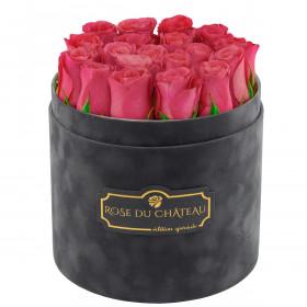 Édition Spéciale Antracytowy Flokowany Box z Różowymi Różami Żywymi