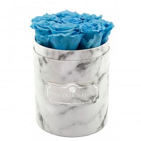 Błękitne Wieczne Róże w Białym Małym Marmurowym Boxie