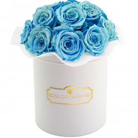 Błękitne Wieczne Róże Bouquet w Białym Boxie