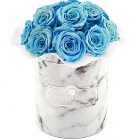 Błękitne Wieczne Róże Bouquet w Białym Marmurowym Boxie