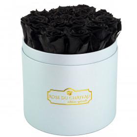 Czarne Wieczne Róże w Błękitnym Boxie
