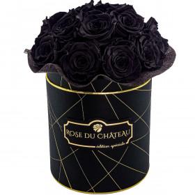 Czarne Wieczne Róże Bouquet w Czarnym Industrialnym Boxie