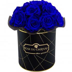Niebieskie Wieczne Róże Bouquet w Czarnym Industrialnym Boxie