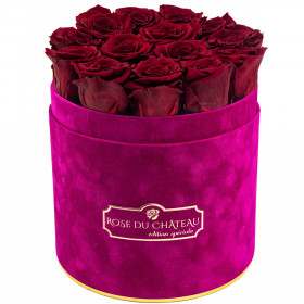 Czerwone Wieczne Róże w Fuksjowym Flokowanym Flowerboxie