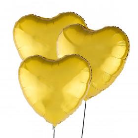 Trzy Złote Balony Serce 46 cm