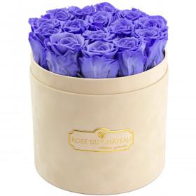Lawendowe Wieczne Róże w Beżowym Flokowanym Boxie