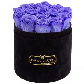 Lawendowe Wieczne Róże w Czarnym Flokowanym Boxie