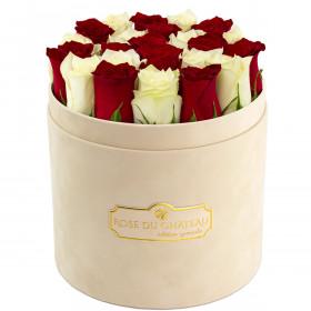 Édition Spéciale Beżowy Flokowany Box z Białymi & Czerwonymi Różami Żywymi