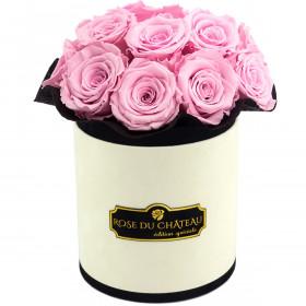 Bladoróżowe Wieczne Róże Bouquet w Coco Flokowanym Boxie