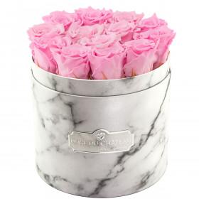 Bladoróżowe Wieczne Róże w Białym Marmurowym Boxie