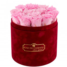Bladoróżowe Wieczne Róże w Bordowym Flokowanym Boxie