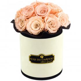 Herbaciane Wieczne Róże Bouquet w Coco Flokowanym Boxie