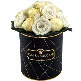 Bridal White Wieczne Piwonie Bouquet w Czarnym Industrialnym Boxie