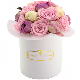 Pink Pastel Wieczne Piwonie Bouquet w Białym Boxie