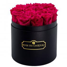 Różowe Wieczne Róże w Czarnym Okrągłym Boxie