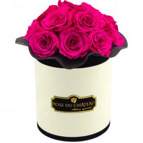 Różowe Wieczne Róże Bouquet w Coco Flokowanym Boxie