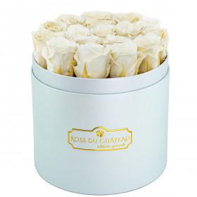 Białe Wieczne Róże w Błękitnym Boxie