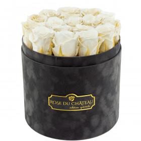 Białe Wieczne Róże w Antracytowym Flokowanym Boxie