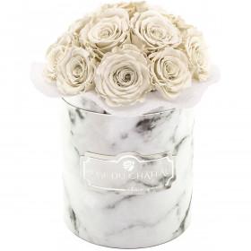 Białe Wieczne Róże Bouquet w Białym Marmurowym Boxie