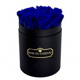Rose eterne blu in flowerbox nero piccolo