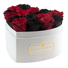 Rose eterne rosse & nere in box cuore bianco