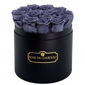 Rose eterne grigie in flowerbox tondo nero