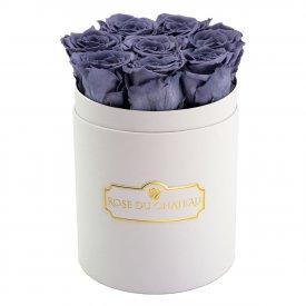 Rose eterne grigie in flowerbox bianco piccolo