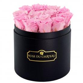 Rose eterne rosa pallido in flowerbox tondo nero