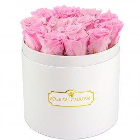 Rose eterne rosa pallido in flowerbox tondo bianco