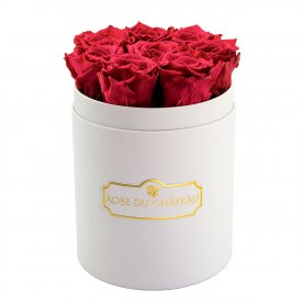 Rose eterne rosa in flowerbox bianco piccolo