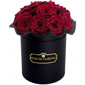 Rose eterne rosse bouquet in flowerbox tondo nero