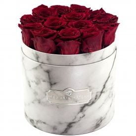 Rose eterne rosse in flowerbox marmo bianco
