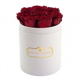 Rose eterne rosse in flowerbox  bianco piccolo