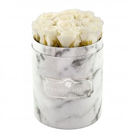 Rose eterne bianche in flowerbox marmo bianco piccolo