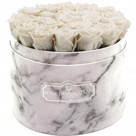 Rose eterne bianche in flowerbox marmo bianco grande