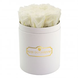 Rose eterne bianche in flowerbox bianco piccolo