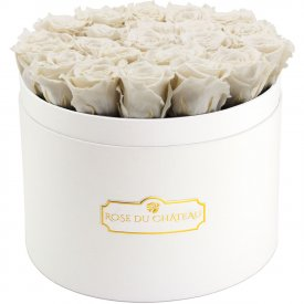 Rose eterne bianche in flowerbox bianco grande