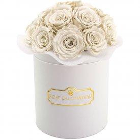 Rose eterne bianche bouquet in flowerbox bianco