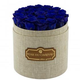 Rose eterne blu in flowerbox di lino