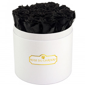 Rose eterne nere in flowerbox tondo bianco