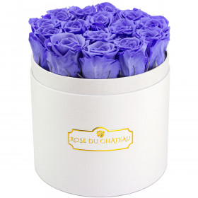 Rose eterne lavanda in flowerbox tondo bianco