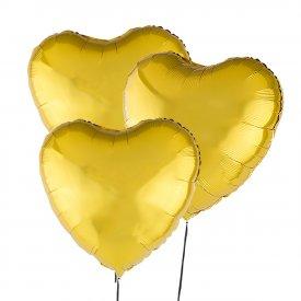 Drei goldene Luftballons Herz 46 cm