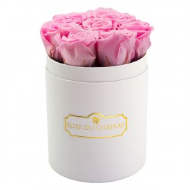 Zartrosafarbene Ewige Rosen in weißer Rosenbox Small