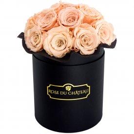 Teefarbene Ewige Rosen Bouquet in schwarzer Rosenbox
